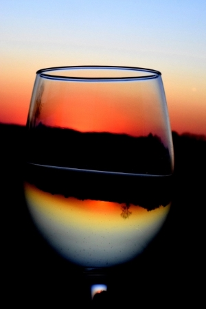 Sunset through Wineglass - Sample Photo/Poster Image